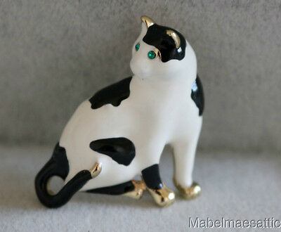 New Enamel & Crystal Black & White Spotted Cat Lover Kitten Pin Brooch Gift