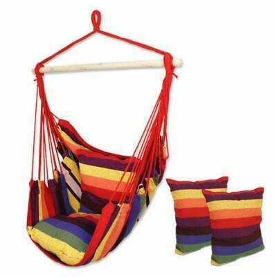 Hammock Hanging Rope Chair Porch Swing Seat Patio Camping Portable RainbowStripe