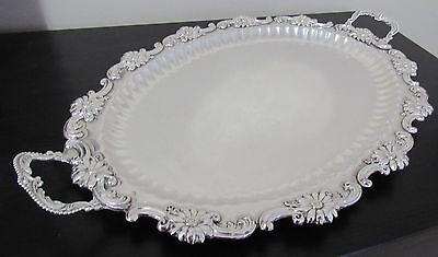 Antique Sterling Silver Serving Tea Tray Platter Ornate Handles 24 by 15 inches