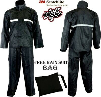 2 Piece Waterproof Motorbike Motorcycle Reflective Rain Over Jacket Trouser Suit