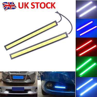 2 x 12V LED STRIP DRL DAYTIME RUNNING LIGHTS FOG COB CAR LAMP WHITE DAY DRIVING