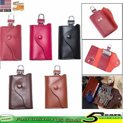 New Men Leather Car Key Chain Card Holder Wallet Case key 6 Ring Pouch Purse Bag