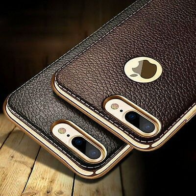 New Slim Luxury Leather Back Cover TPU Soft Case Skin For iPhone/Samsung Galaxy