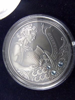 2014 Belarus Signs of the Zodiac 20 Rubles Aquarius Sterling Silver Coin