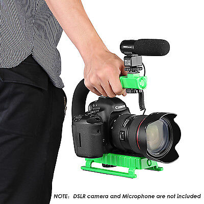 Neewer C-Shape Versatile Action Stabilizing Handle Bracket with hot shoe-Green