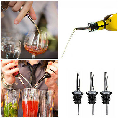 3x Stainless Steel Tapered Liquor Pourer Flow Wine oil Bottle Pour Spout Stopper