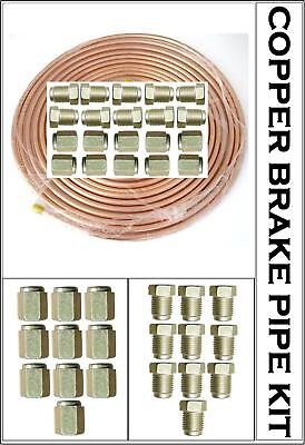 """Renault Clio 25 ft 3//16/"""" Copper Brake Pipe Male Female Nuts Joint Tube Joint Kit"""