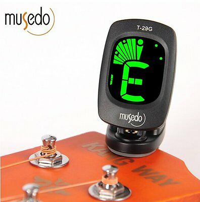 Musedo T-29G Clip-on LCD Display Guitar Tuner Backlight 360° Rotatable Clip