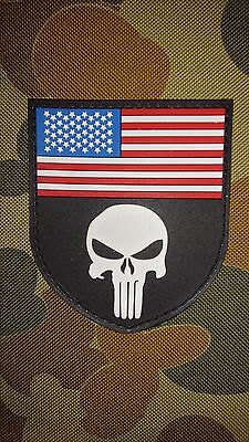 New Punisher Usa Badge Pvc Tactical Morale Cosplay Patch Hook Australia Seller