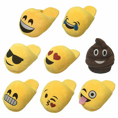 New Ladies Older Girls Emoji Emoticon 3D Slip On Stuffed Plush Slippers Size 5-7