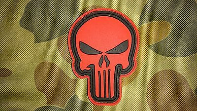 New Punisher Red Pvc Tactical Morale Cosplay Patch Hook Loop Australian Seller