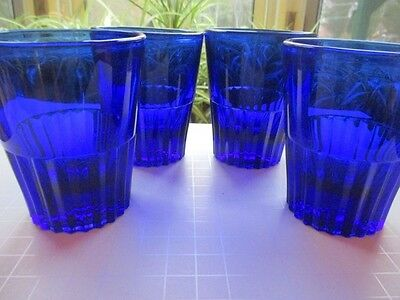 Cobalt Blue Depression Glass Paden City Glades Pleat Band 4 Water Tumblers
