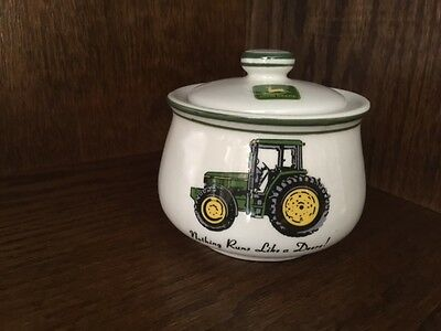 """John Deere 4"""" Sugar Bowl/Canister w/ Lid. Made by Gibson"""