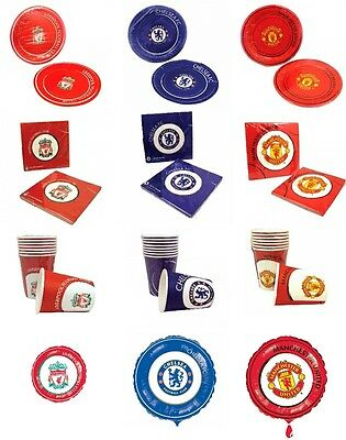 Chelsea Manchester United Liverpool Birthday Party Plates Napkins Cups Football