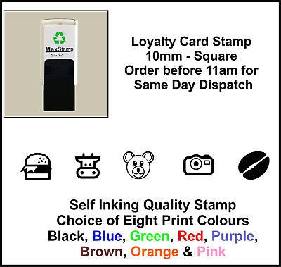 Loyalty Card Stamp Quality Self Inking 10mm BURGER COW  BEAR CAMERA COFFEE BEAN