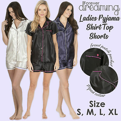 Womens Ladies Satin Pyjama Set Short Sleeved Nightwear Shorts Summer Loungewear
