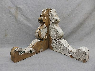 Antique Pair Wood Gingerbread Corbels Shabby Cottage Chic Vintage 319-17R