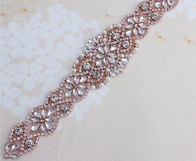 Bridal Bridesmaid Prom Dress Crystal Pearl Rose Gold Appliqué For Sash Belt