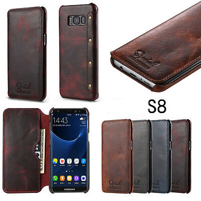 For Samsung Galaxy Note 9 S8 S9 Plus Genuine Leather Flip Wallet Flip Case Cover