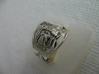 ENGLAND Sterling Silver spoon RING BULLDOG s 9 3/4 #4070