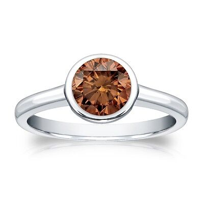 3 Ct Round Cut Brown Solitaire Bezel Engagement Wedding Ring Real 950 Platinum