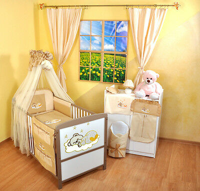 NEW WHITE-BROWN 2in1 COT-BED 120x60 WITH A 3-PIECE BEDDING no 12