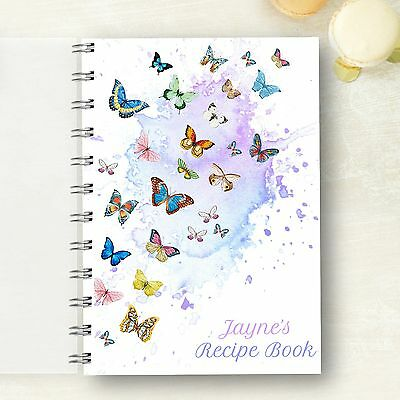 Personalised Recipe notebook Butterfly Recipe Log, Foodie Present, 2 Size Choice