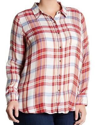 b1868e7076f92 NWT Women s Lucky Brand Bungalow Plaid Button Back Top Red Multi 1X Plus  80