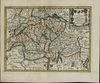 Switzerland Suisse Geneva Basel Zurich Alps 1786 Gravius rare old antique map