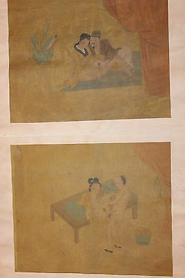 Old Antique Chinese Album of 8 Erotic Paintings on Silk