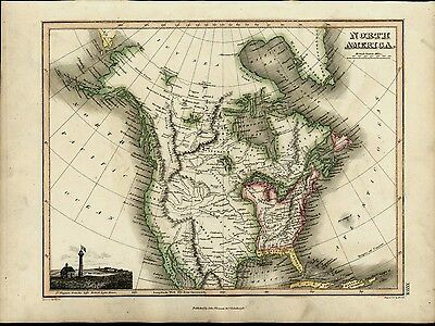 North America Louisiana British Lighthouse 1819 antique Wyld Hewitt Thomson map