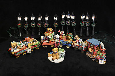 Cherished Teddies! Santa Express Train! Set Of 10 Pieces! With Accessory Set!