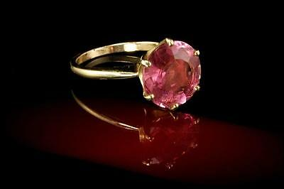 Vintage Chinese Large Faceted Pink Tourmaline 14K Gold Ring D120416004
