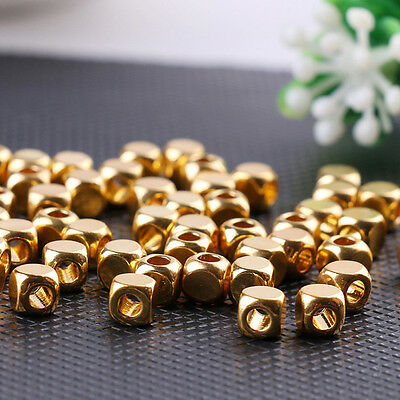 100Pcs Elegant Brass Gold Cube Beads Spacer for Jewelry Necklace Bracelet Making