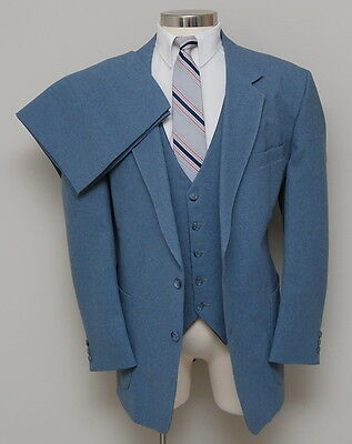 Vintage Mens 48R The Comfort Suit 3 Piece Blue Suit with Reversible Vest