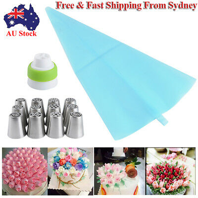 AU Russian Tulip Flower Icing Piping Nozzles Tips Set With Piping Bag &Converter