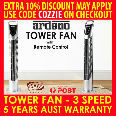 Ardeno Portable Tower Fan Remote Control Cross Flow Touch Panel Night - Silver
