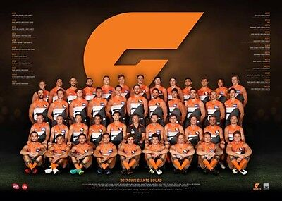 """AFL GREATER WESTERN SYDNEY GWS 2017 laminated TEAM POSTER """"OFFICIAL & LICENSED"""""""