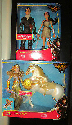 "WONDER WOMAN MOVIE 12"" DOLL SET 2-pack STEVE TREVOR QUEEN HIPPOLYTA  HORSE 2017"