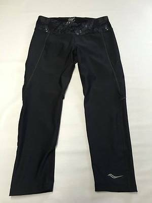 Womems SAUCONY Black Athletic Yoga Running Cropped Pants Sz S