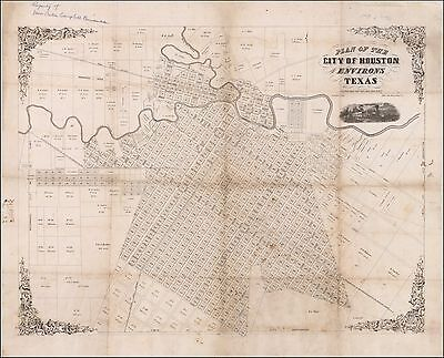 Gray Plan of the City of Houston Texas 1858 map POSTER 50303