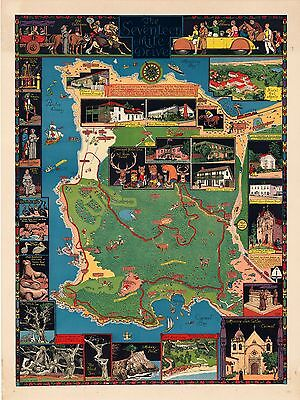 Seventeen Mile Drive 1927 pictorial map whimsical POSTER Jo Mora 50817