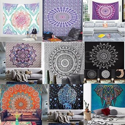 Indian Twin Size Bohemian Tapestry Wall Hanging Mandala Throw Hippie Bedspread