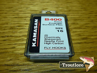 25 x KAMASAN B400 #16 DRY FLY / EMERGER HOOKS - NEW FLY TYING MATERIALS
