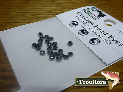 "24 PIECES BRASS BEAD HEADS BLACK 7/64"" 2.8mm HARELINE - NEW FLY TYING MATERIALS"