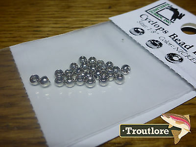 "24 PIECES BRASS BEAD HEADS NICKEL 1/8"" 3.2mm HARELINE - NEW FLY TYING MATERIALS"