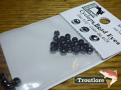"24 PIECES BRASS BEAD HEADS BLACK 5/32"" 3.8mm HARELINE - NEW FLY TYING MATERIALS"