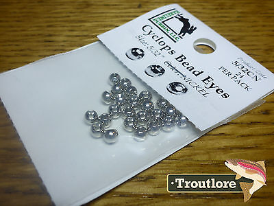 "24 PIECES BRASS BEAD HEADS NICKEL 5/32"" 3.8mm HARELINE - NEW FLY TYING MATERIALS"