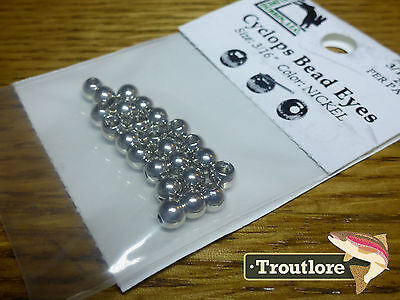 "24 PIECES BRASS BEAD HEADS NICKEL 3/16"" 4.2mm HARELINE - NEW FLY TYING MATERIALS"