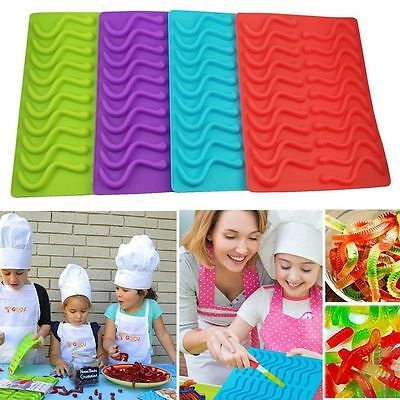 Silicone Gummy Worm Chocolate Mold Candy Maker Ice Tray Jelly Moulds AU